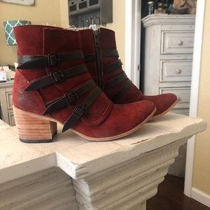 Red Suede Freebird Weson booties